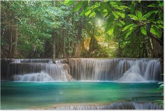 Plakat Wodospad w Kanchanaburi, Tajlandia (Huay Mae kamień)