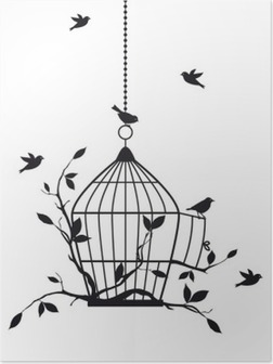 Plakat Wolne ptaki z otwartej klatce dla ptaków, wektor