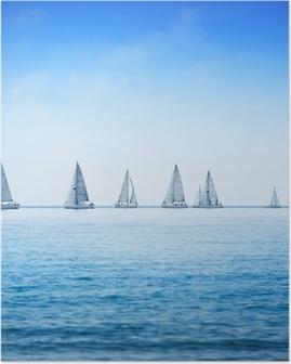 Plakat Żaglówka jacht regaty wyścig na wodzie morza lub oceanu