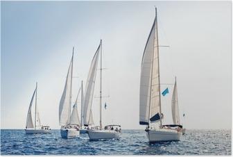 Plakat Żeglarstwo jachty z białymi żaglami statku