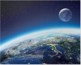 Plakát Země a Měsíc pohled z vesmíru v noci - Evropa