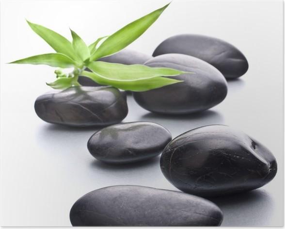 Plakát Zen oblázky. Kámen lázně a zdravotní péče koncept. - Životní styl, péče o tělo a krása