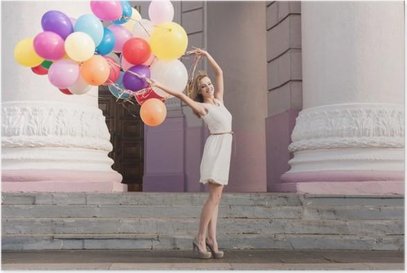 Plakát Žena s balónky - Žena