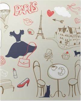Plakat Zestaw ręcznie rysowane symbole Paryża