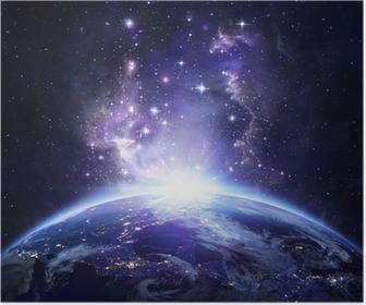 Plakat Ziemia widok z kosmosu w nocy - USA