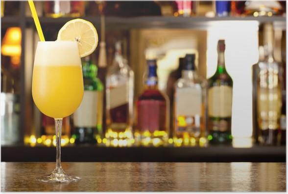 Plakát Žlutá koktejl s citronem - Alkohol