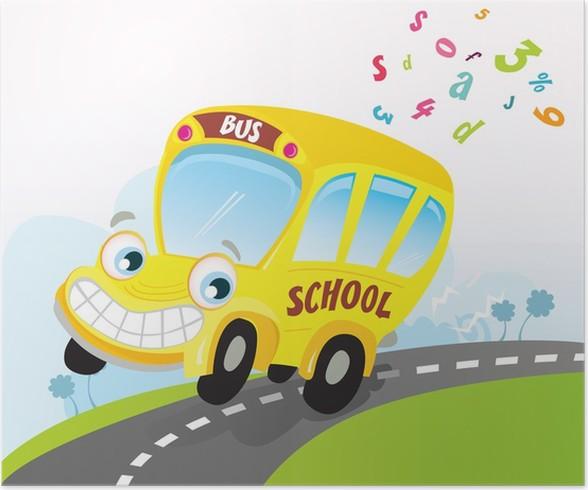 Plakat Zluty Skolni Autobus Vektorove Kreslene Ilustrace Pixers