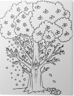 Boyama Dört Mevsim Ağaç Tuval Baskı Pixers Haydi Dünyanızı