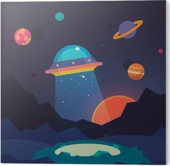 Pleksi Baskı Gece yabancı dünya manzara ve ufo uzay gemisi