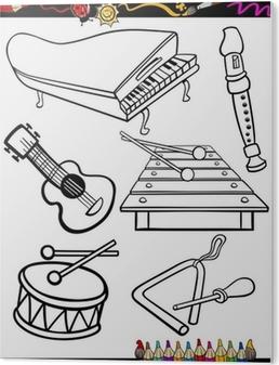 Karikatur Muzik Aletleri Boyama Duvar Resmi Pixers Haydi