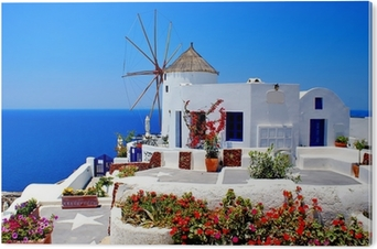 Pleksi Baskı Santorini adasında, Yunanistan üzerinde fırıldak