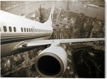 Pleksi Baskı Uçak şehir geceden çıkar.