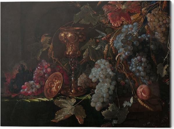Plexiglas Print Abraham Mignon - Grape and silverware cup on an entablature - Reproducties