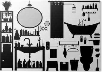 Foto Plexiglas Badkamer : Poster badkamer toilet design set vector u2022 pixers® we leven om te