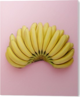 Plexiglas Print Bovenaanzicht van rijpe bananen op een heldere roze achtergrond. Minimalistische stijl.