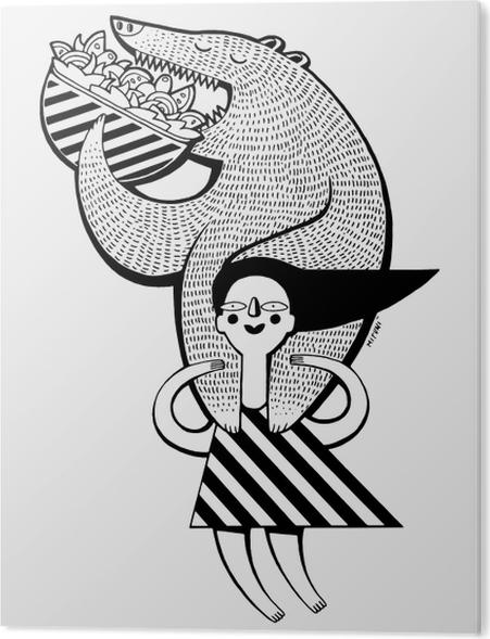 Plexiglas Print Klein meisje houdt de beer te eten kebap -