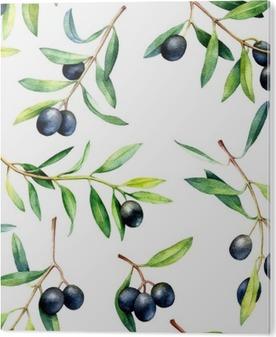 Plexiglas Print Naadloos patroon met olijftakken. Hand getekende aquarel illustratie.