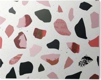 Plexiglas Print Terrazzo naadloos patroon. gestructureerde vormen. pastelkleuren en zwart. marmeren.