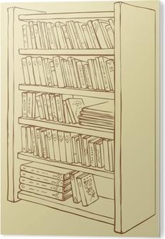 Canvas Vector tekening. Boekenkast met verschillende boeken • Pixers ...