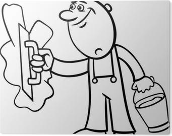 Sticker Werknemer Met Nagel Cartoon Illustratie Pixers We Leven