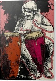 Plexiglastavlor Conga spelare - en handritad grunge illustrationen