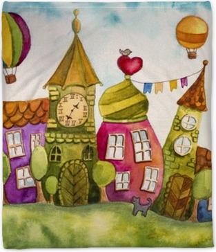 Colorful fairy houses Plush Blanket