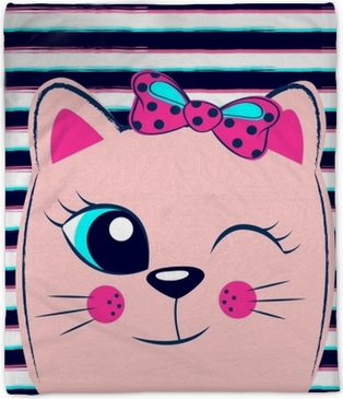 Cute pink kitten with pink bow on striped background. Girlish print with kitty for t-shirt Plush Blanket