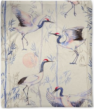 Hand-drawn watercolor seamless pattern with white Japanese dancing cranes. Repeated background with delicate birds and bamboo Plush Blanket