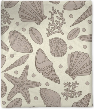 Sea shells, sea stars and corals seamless background. Vintage shabby seamless pattern for textile, print, wallpaper. Sea life pattern. Plush Blanket