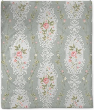 seamless floral pattern with lace and rose borders Plush Blanket