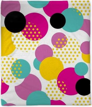 Seamless geometric pattern in retro 80s style. Pop art circle pattern on white background. Plush Blanket