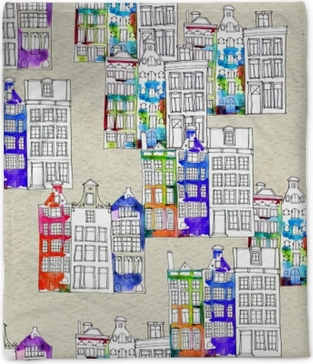 Seamless pattern eith watercolor Amsterdam houses Plush Blanket
