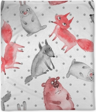 Seamless pattern with cartoon forest animals 2. Wolf, bear, fox and hare Plush Blanket