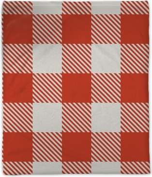 Seamless red and white tablecloth vector pattern. Plush Blanket