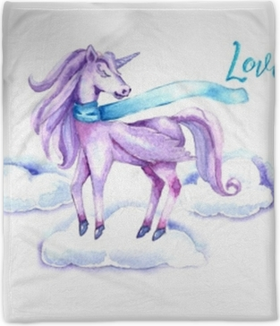 Watercolor design with a unicorn. Template for invitations, postcards, website, poster, banner Plush Blanket