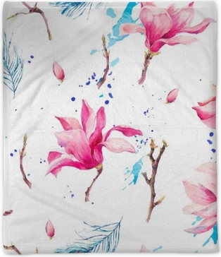 Watercolor Seamless Pattern with Flowers Magnolia Plush Blanket