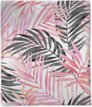 Watercolour pink colored and graphic palm leaf painting. Plush Blanket