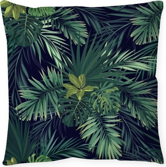 Bezszwowe Ręcznie Rysowane Botaniczny Egzotyczny Wektor Wzór Z Zielonych Liści Palmowych Na Ciemnym Tle