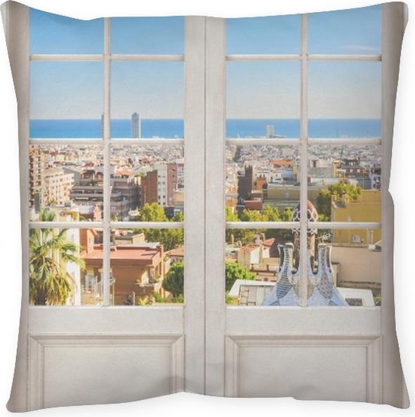 Poduszka Dekoracyjna Białe Drzwi Park Guell W Barcelonie Hiszpania