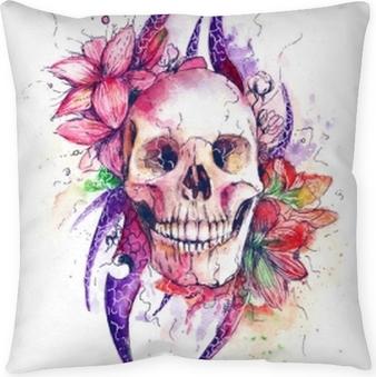 Poduszka dekoracyjna Czaszka z kwiatami
