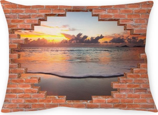 Poduszka dekoracyjna Dziura w murze - Zachód słońca - Dziury w ścianie