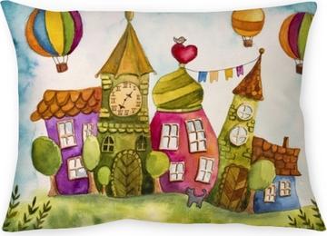 Poduszka dekoracyjna Kolorowe domy z bajki