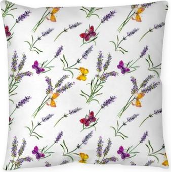 Poduszka dekoracyjna Kwiaty lawendy, motyle. akwarela bezszwowe wzór
