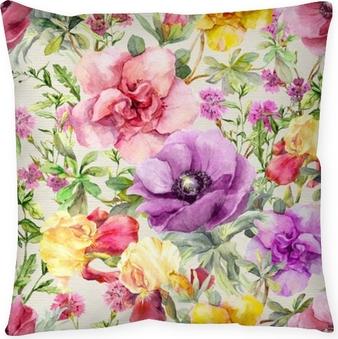 Poduszka dekoracyjna Kwiaty na łące. kwiatowy wzór. akwarela
