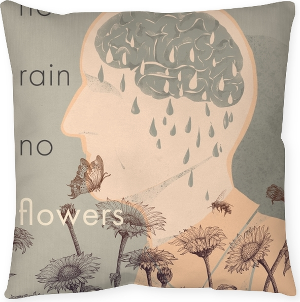 Poduszka dekoracyjna No rain, no flowers - Motywacyjne