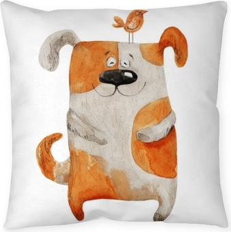 Poduszka dekoracyjna Pies uśmiecha się z ptakiem. akwarela ilustracja