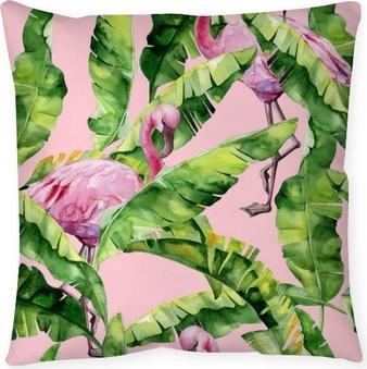 Poduszka dekoracyjna Tropikalne liście, gęsta dżungla. palma bananowca pozostawia bez szwu akwarela ilustracja tropikalnych różowych ptaków flamingo. modny wzór z motywem tropic summertime. egzotyczne tło sztuki Hawajów.