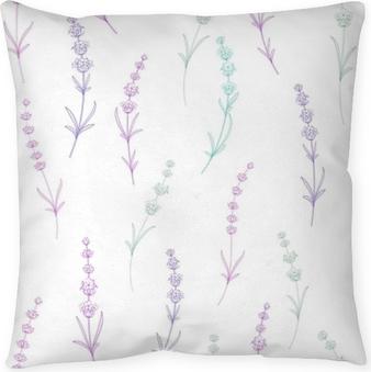 Poduszka dekoracyjna Wzór kwiatów lawendy na białym tle. akwarela wzór z lawendy do pakowania. ilustracji wektorowych.