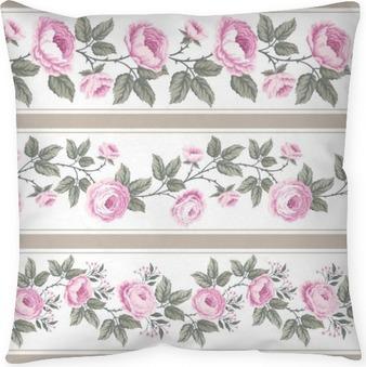 Poduszka dekoracyjna Zestaw bez szwu kwiatów granic z róż