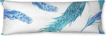 Poduszka relaksacyjna Akwarela Turquoise Feather Wzór